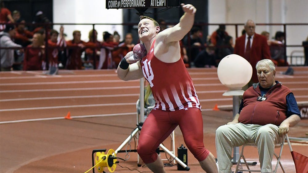 Junior David Schall competes in the shot put in the Hoosier Open on Dec. 8 in Harry Gladstein Fieldhouse. Schall won the men's shot put in Saturday's dual meet with Tennessee with a new meet record of 18.70 meters. Schall got to rest this weekend while a few of his teammates went to South Bend, Indiana, for the Alex Wilson Invitational.