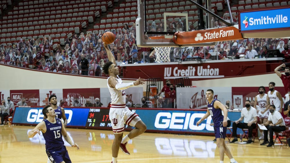 Sophomore forward Trayce Jackson-Davis goes for a dunk during a 67-74 loss to Northwestern Dec. 23 at Simon Skjodt Assembly Hall. Indiana has a 5-4 record for the 2020-21 season.