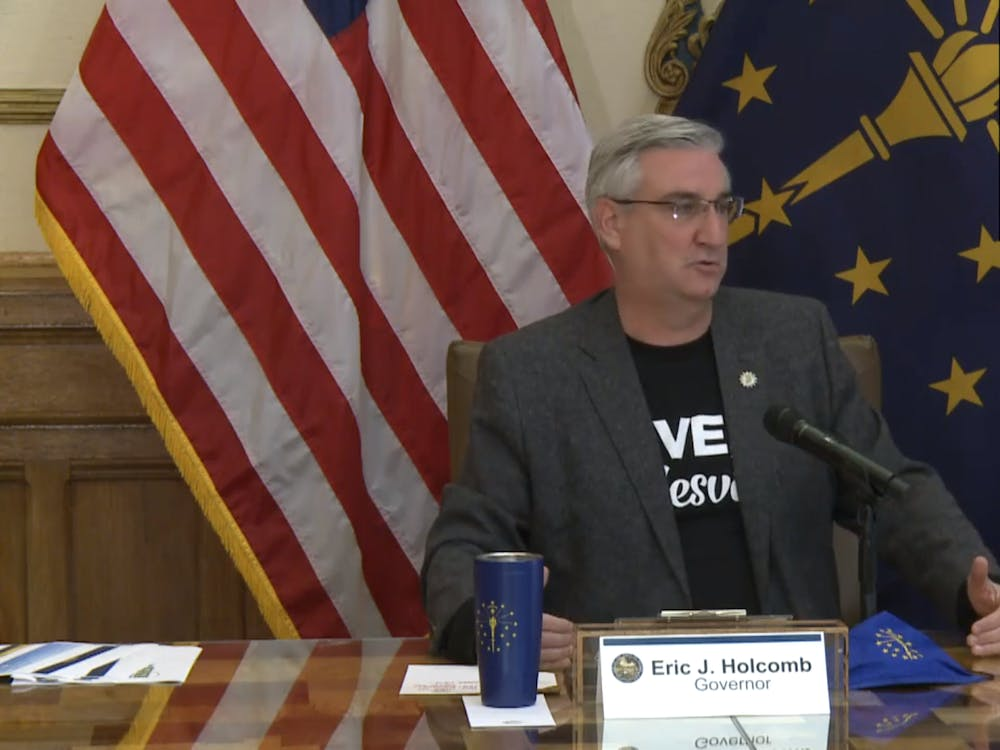 Gov. Eric Holcomb speaks virtually at the weekly coronavirus update meeting Wedensday. Indiana has had 101,485 total positive cases of COVID-19, and there have been a total of 3,173 deaths as of midnight Tuesday.