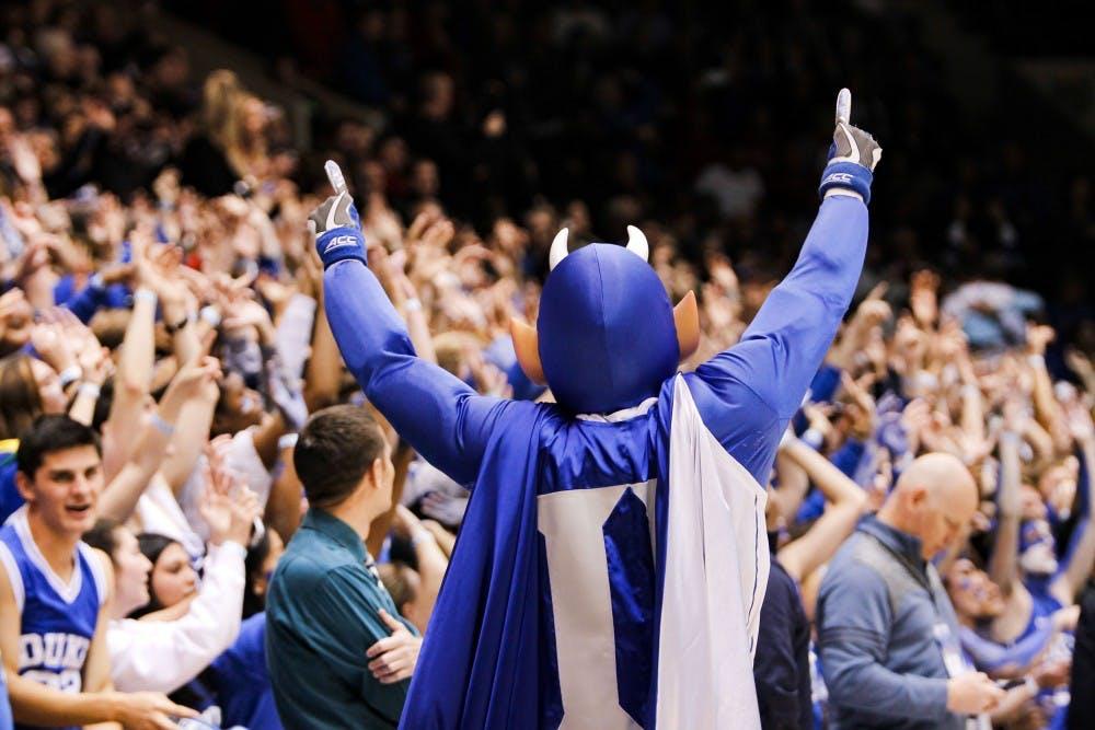 <p>Duke University's Blue Devil mascot rallies the student section before Dukes game against IU on Nov. 27 at the Cameron Indoor Stadium in Durham, North Carolina. Duke defeated IU, 90-69.</p>