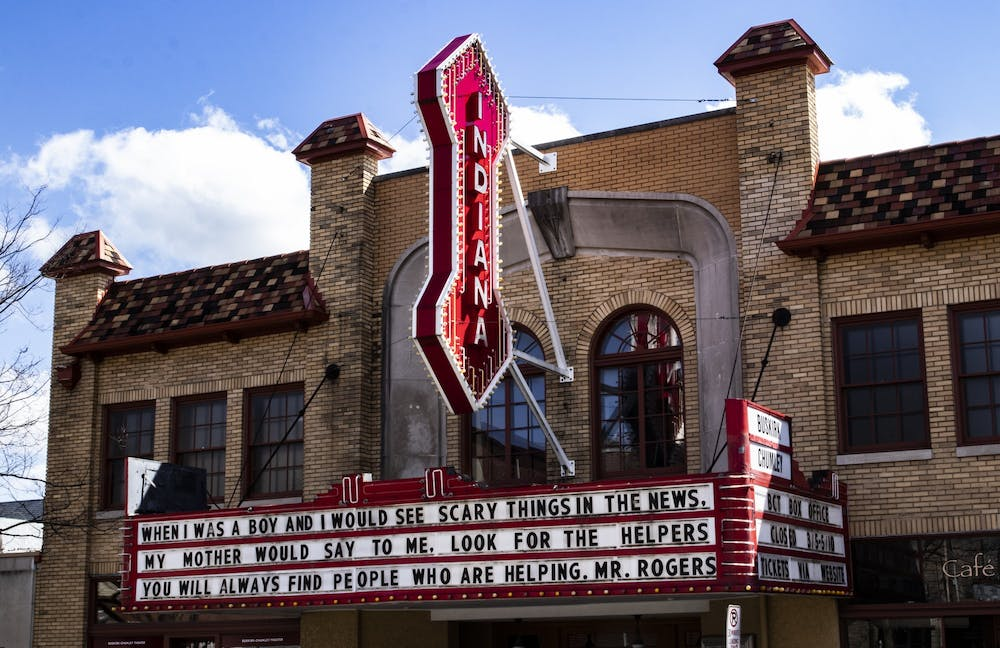 <p>The Buskirk-Chumley Theater facade is seen March 29 on Kirkwood Avenue. The theater has lost more than $100,000 due to the coronavirus pandemic.</p>