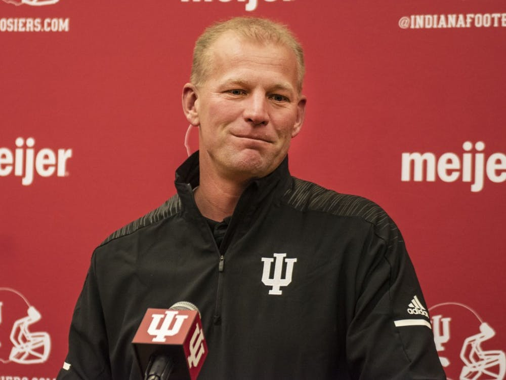 New offensive coordinator Kalen DeBoer speaks during a press conference Jan. 25 at Memorial Stadium. The Hoosiers finished last season with a 5-7 record.