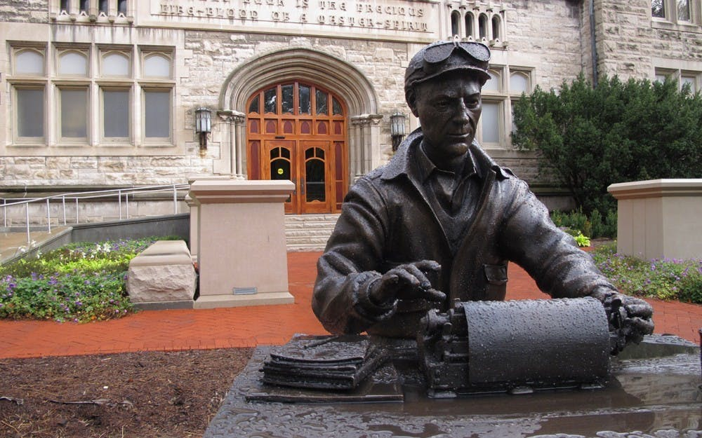 <p>The Ernie Pyle statue is pictured in front of Franklin Hall. Caroline Anders and Emily Isaacman are serving as spring 2021 IDS co-editors-in-chief. </p>