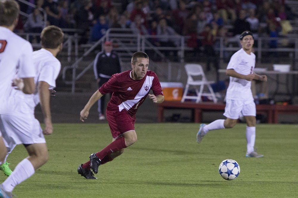 Junior midfielder Tanner Thompson moves to get a loose ball during the first half of the game against Ohio state on Oct. 10 at Bill Armstrong Stadium. The Hoosiers lost 1-0 in overtime.
