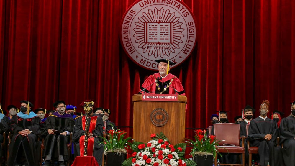 Interim Provost John S. Applegate delivers his remarks during the Freshman Induction Ceremony Aug. 18 at Simon Skjodt Assembly Hall. Applegate delivered a speech, as well as IU Student Government President Ky Freeman.