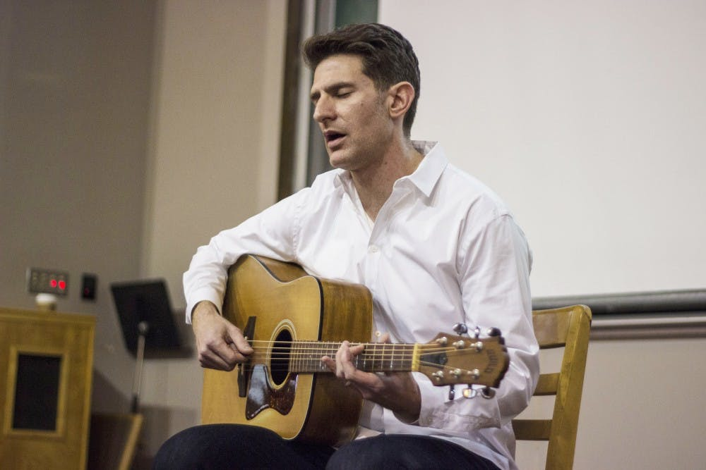 "<p>Joe Goodkin performs his interpretation of ""The Odyssey"" on Tuesday in Rawles Hall. Goodkin travels the country to perform his original set.</p>"