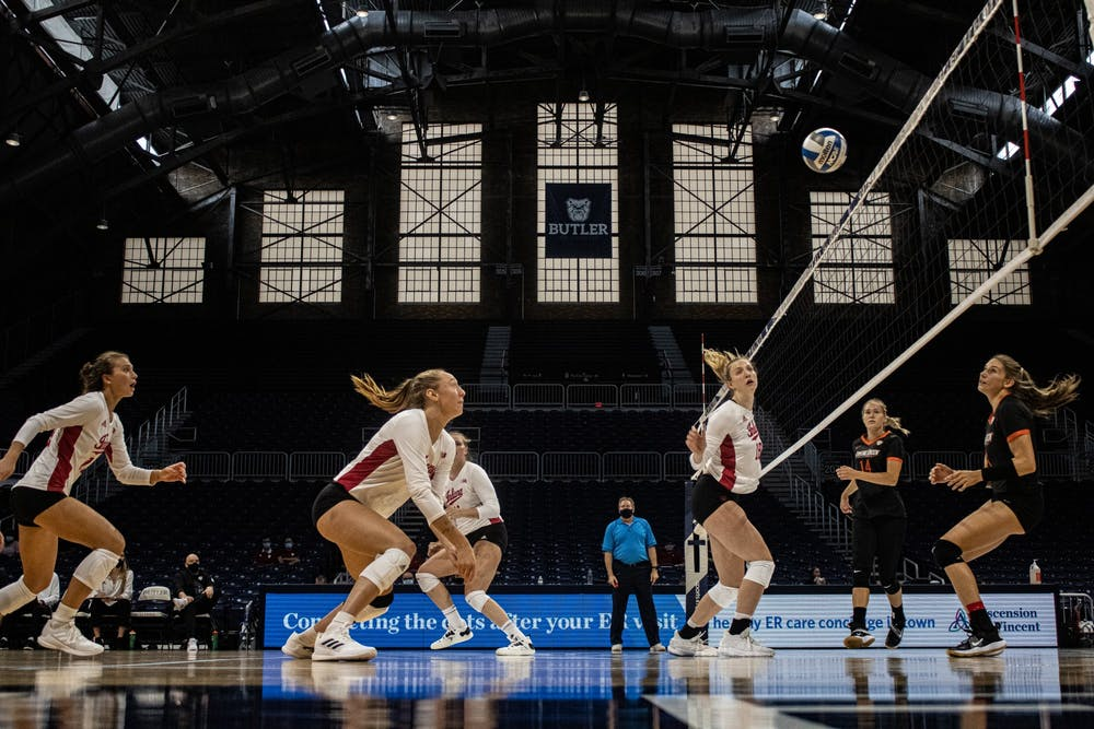 <p>Players on the Indiana volleyball team scramble to deny a Bowling Green State University point during their match on Aug. 29, 2021, at Hinkle Fieldhouse in Indianapolis. Indiana will play Nebraska on Wednesday, a team it hasn&#x27;t defeated since 1978.</p>