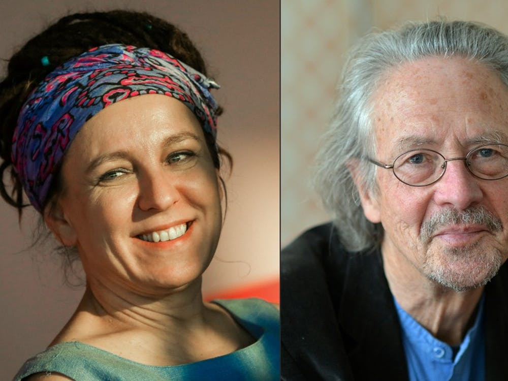 This combination of pictures created Oct. 10shows Polish author Olga Tokarczuk on Sept.17, 2018, in Krakow, Poland, and Austrian novelist and playwright Peter Handke on Nov. 22, 2012 in Salzburg, Austria. Polish writer Olga Tokarczuk won the 2018 Nobel Literature Prize, which was delayed over a sexual harassment scandal, while Austrian novelist and playwright Peter Handke took the 2019 award, the Swedish Academy said.