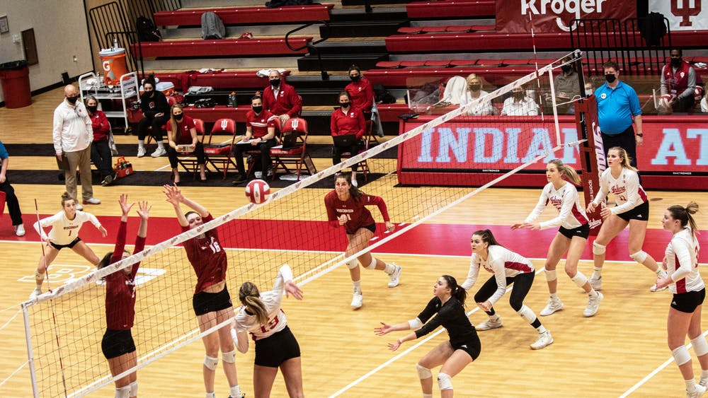 Redshirt freshman outside hitter Ashley Zuluaf spikes the ball Feb. 13 in Wilkinson Hall. IU volleyball lost two road games against Michigan this weekend.