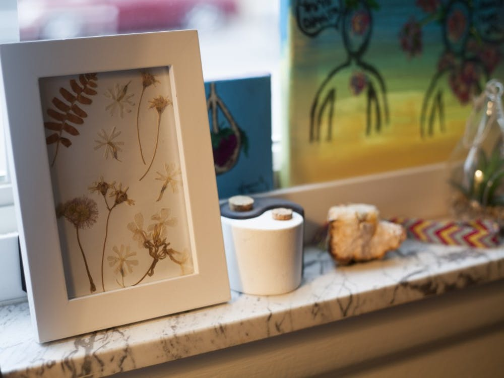 A frame filled with pressed flowers sits on a window sill in Campus Walk Plantation South Apartments. Students can make things such as this to decorate their dorm or apartment in creative ways.
