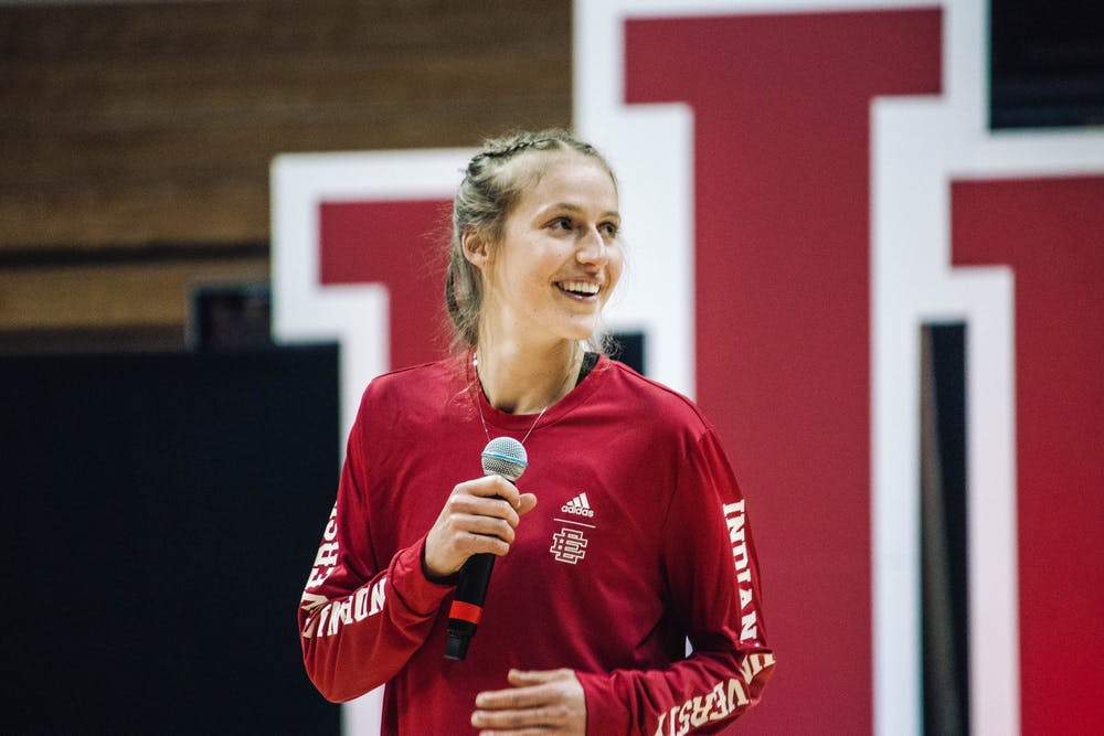 <p>Graduate student guard Ali Patberg speaks to the crowd at Hoosier Hysteria on Oct. 2, 2021, at Simon Skjodt Assembly Hall. Patberg averaged 14 points and 3.7 assists for the Hoosiers last season. </p>