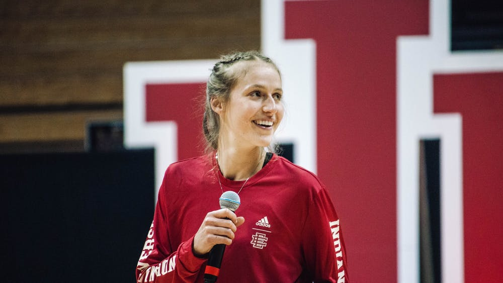 Graduate student guard Ali Patberg speaks to the crowd at Hoosier Hysteria on Oct. 2, 2021, at Simon Skjodt Assembly Hall. Patberg averaged 14 points and 3.7 assists for the Hoosiers last season.