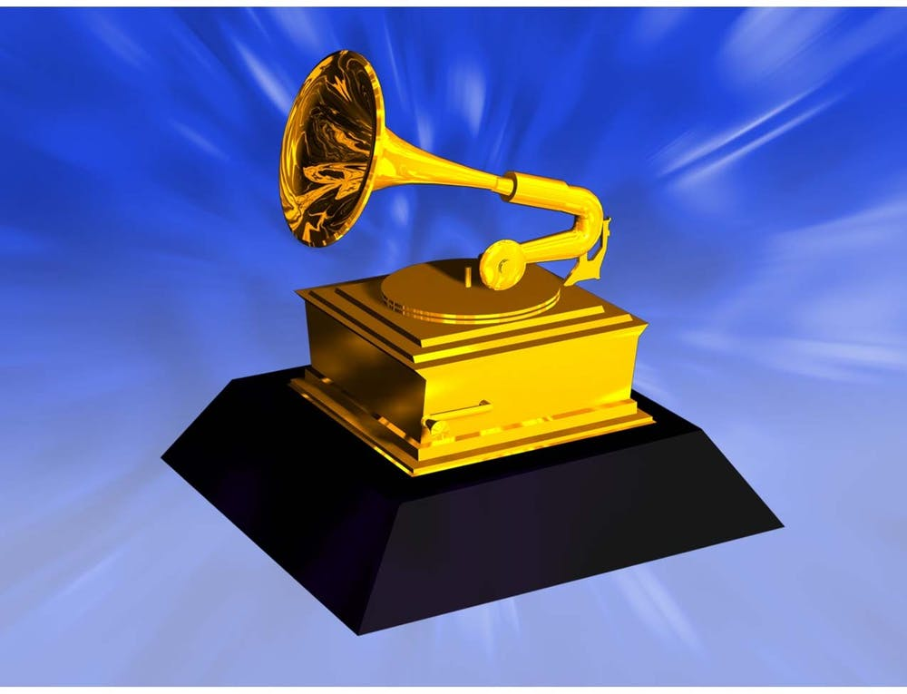 An illustration shows a Grammy award.