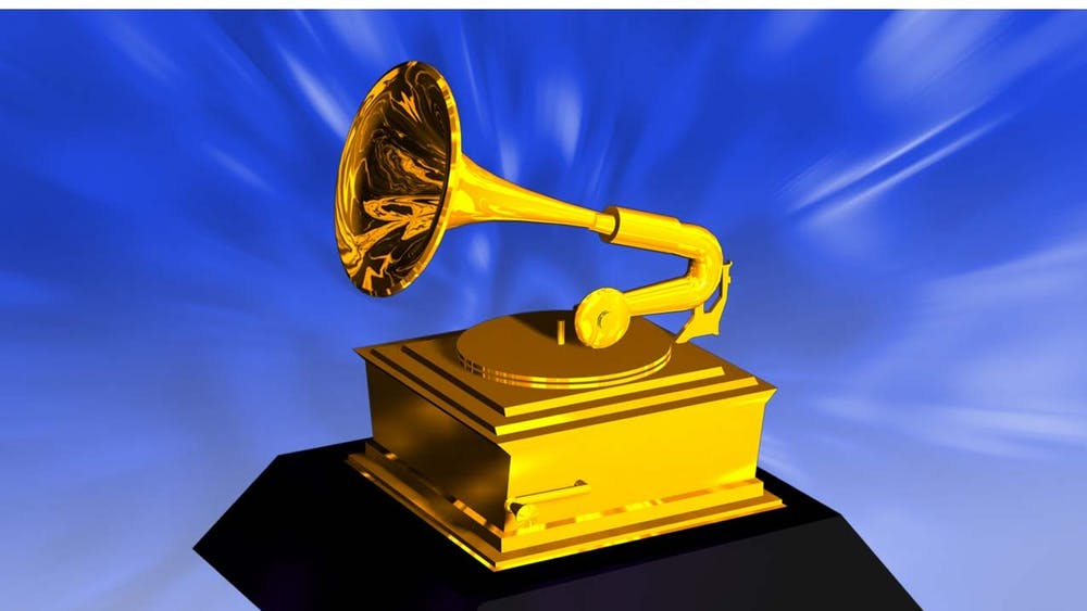 An illustration shows a Grammy award.
