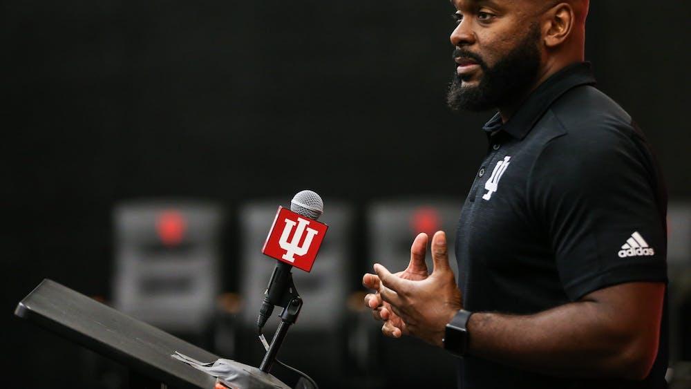 IU defensive coordinator and linebackers coach Charlton Warren speaks during Media Day on Thursday in Bloomington. Warren said he appreciates the veteran presence in IU's defense.
