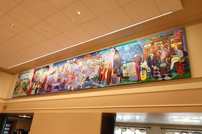 A new mural hangs Jan. 19 at Wright Quad dining hall. The Indiana University Office of the Bicentennial commissioned the mural.