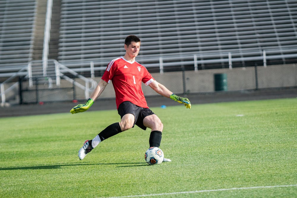 <p>Sophomore goalkeeper Roman Celentano kicks the ball during the Big Ten Men's Soccer Tournament Championship on April 17 at Bill Armstrong Stadium. The IU men&#x27;s soccer team will compete against Marquette University tomorrow in the third round of the NCAA Tournament in Cary, North Carolina.</p>