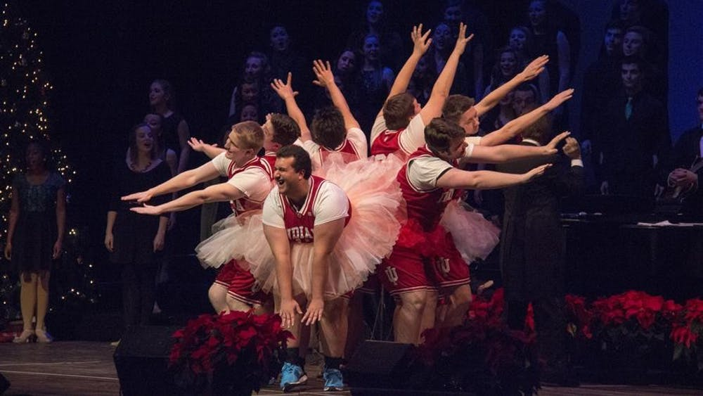 """The Singing Hoosiers Ballet Company performs """"Waltz of the Flowers"""" during the Singing Hoosier's Chimes of Christmas Concert on Wednesday at the IU Auditorium."""