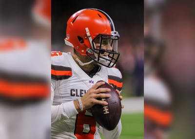 Browns quarterback Baker Mayfield warms up before the game against the Saints at the Mercedes-Benz Superdome on Sept. 16 in New Orleans.