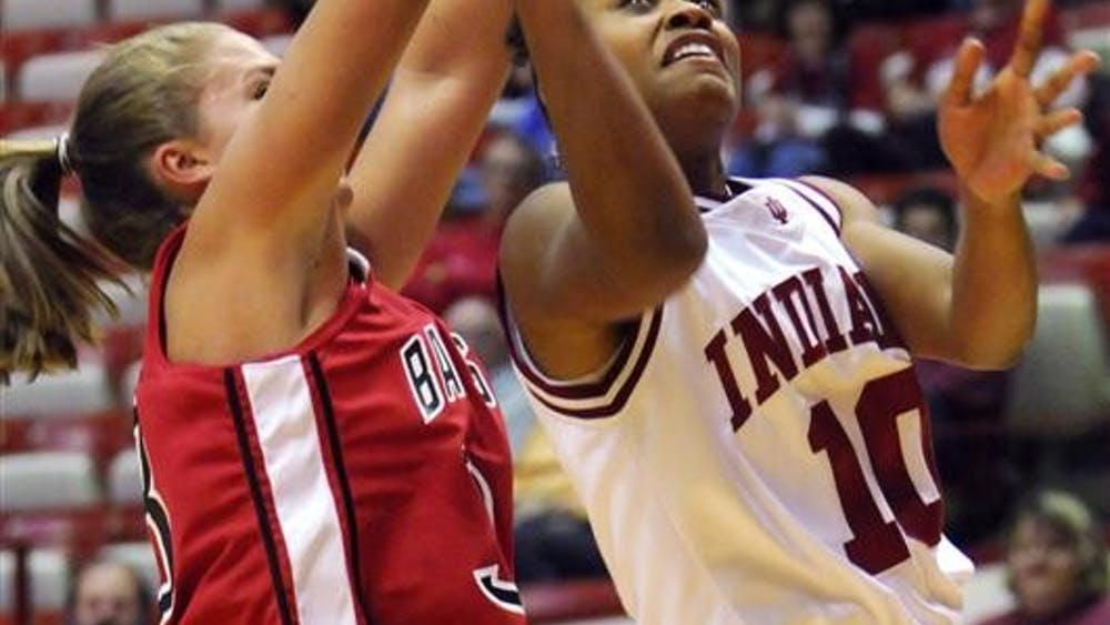 IU guard Andrea McGuirt puts up a shot during the first half of IU's 84-68 win in the first round of the Women's NIT on Nov. 14 at Assembly Hall.