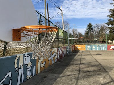 Murals along the basketball courts at Building Trades Park are seen Feb. 23 at 619 W. Howe St. The 2019 expansion of the murals was funded through the Housing and Neighborhood Development Department's neighborhood improvement grants.