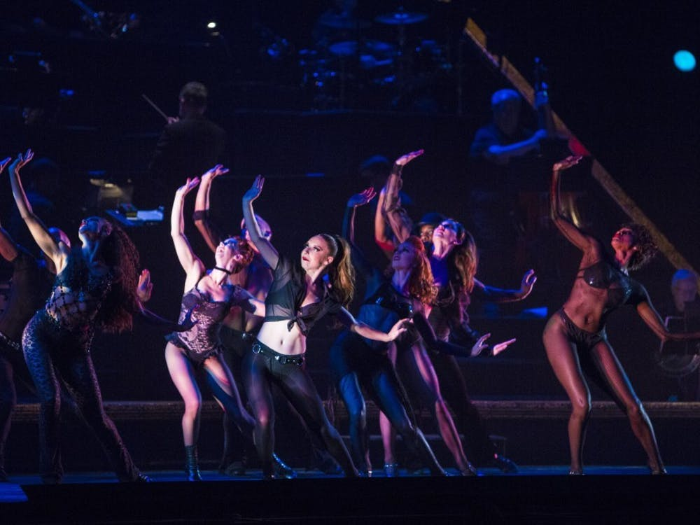 """Members of the cast of """"Chicago"""" dance during the opening song """"All that Jazz"""" on Oct. 10, 2018, in IU Auditorium. Broadway closed in March 2020 and reopened on Sept. 14, 2021."""