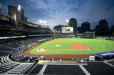 The Houston Astros play against the San Diego Padres at Petco Park on Aug. 2 in San Diego, California. Major League Baseball confirmed plans for a 16-team playoff at four sites in Texas and California on Tuesday.