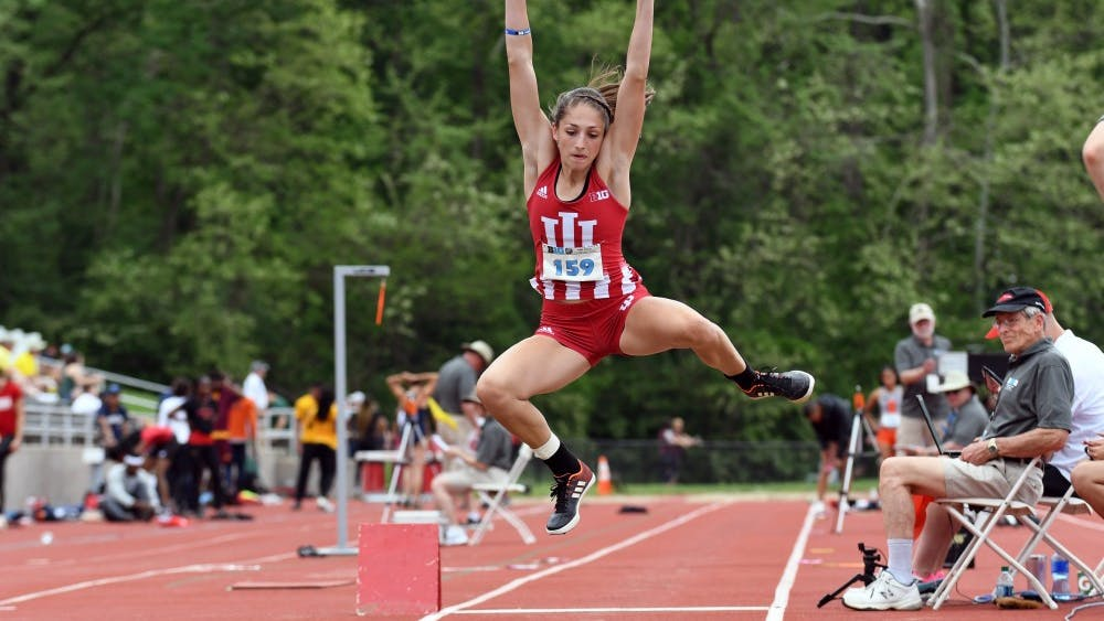 Then-sophomore, now junior Leah Moran competes in the long jump during last year's Big Ten Outdoor Track and Field Championships at Robert C. Haugh Track and Field Complex. Moran, along with 16 other Hoosiers, qualified for the NCAA Championships in Austin, Texas, June 6-8.