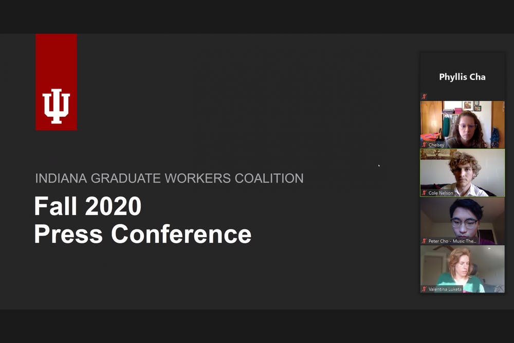 <p>More than 45 people attended a virtual press conference held by the Indiana Graduate Workers Coalition, a multidisciplinary group of graduate workers fighting for better working conditions.</p>