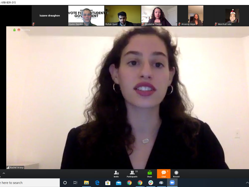 """Rachel Aranyi, a sophomore IU Student Government presidential candidate, speaks during a town hall meeting Wednesday on Zoom. The meeting was """"Zoombombed"""" by a few users around 10 minutes into the public online event."""