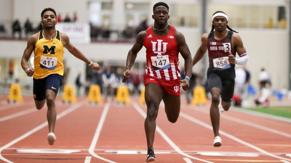 <p>Redshirt junior Rikkoi Brathwaite sprints to the finish line Feb. 27 at the Big Ten Championships in Geneva, Ohio. Brathwaite came in third place for the 60-meter dash Saturday at the NCAA Indoor Track and Field National Championships in Fayetteville, Arkansas. </p>