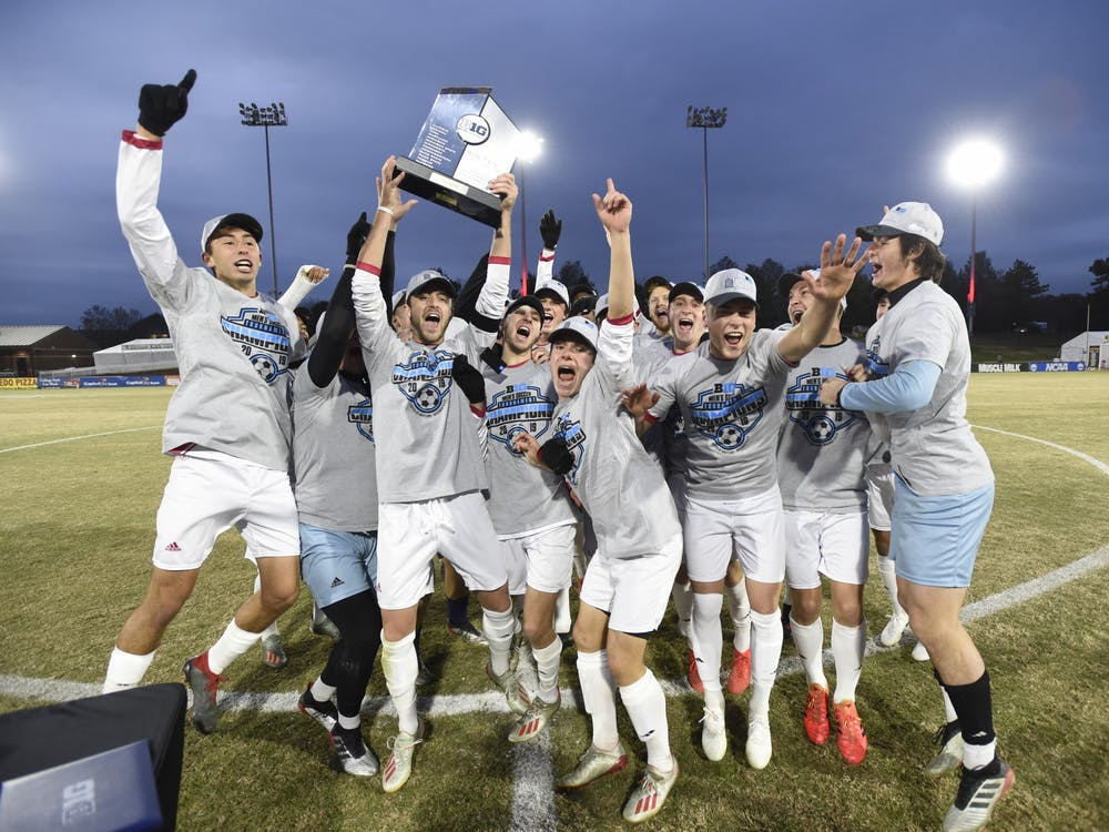 The IU men's soccer team celebrates its Big Ten Tournament win over Michigan on Nov. 17, 2019, in College Park, Maryland. IU clinched the Big Ten regular-season title after its game with Maryland was canceled.