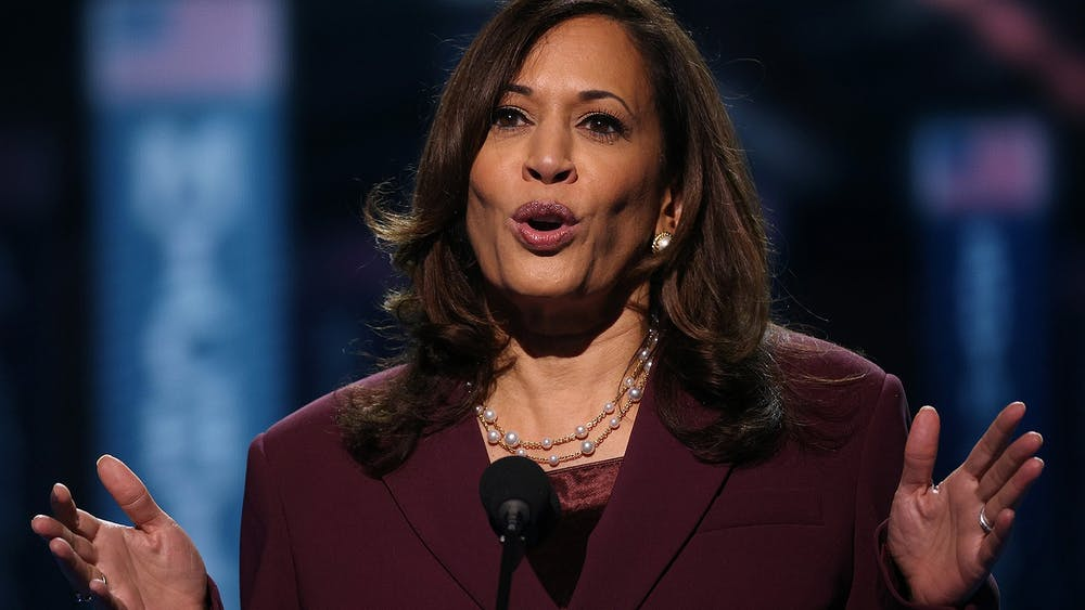 Democratic vice presidential nominee Sen. Kamala Harris, D-CA, speaks on the third night of the Democratic National Convention Aug. 19 from the Chase Center in Wilmington, Delaware.