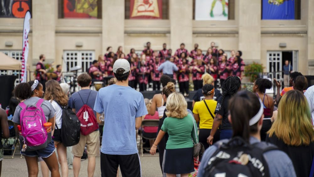 The African American Choral Ensemble performs during the First Thursdays Festival on Sept. 6 at the Fine Arts Plaza. The final First Thursday of the year will be April 4.