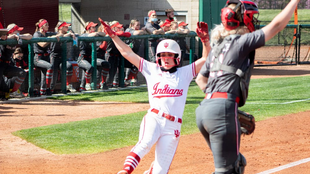 Senior infielder Grayson Radcliffe slides home against Ohio State on April 16. The IU softball team will play a four-game series against Illinois this weekend in Champaign, Illinois.