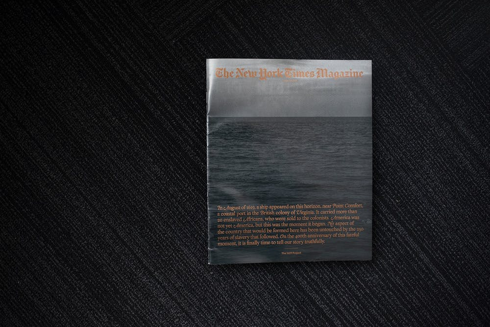 <p>A copy of the New York Times Magazine&#x27;s &quot;The 1619 Project&quot; is photographed Aug. 19, 2019, in Chicago. President Donald Trump has pushed for the project, which aims to accurately portray the history of America and slavery, to be banned from schools.</p>