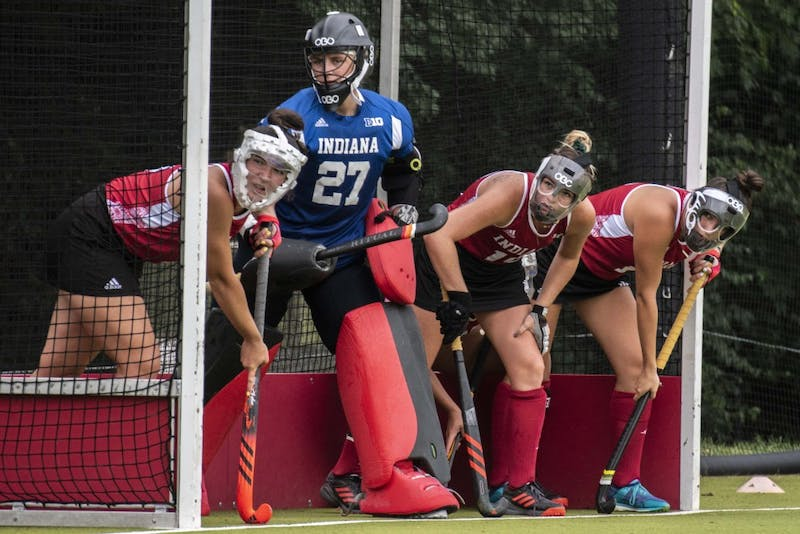 From left, junior Kelsey Giese, redshirt freshman Shelby Querry, junior Ciara Girouard and senior Nora Aucker prepare for a penalty corner during IU's loss to Stanford on Sept. 7. Giese scored during IU's 3-1 win against St. Louis on Sunday.