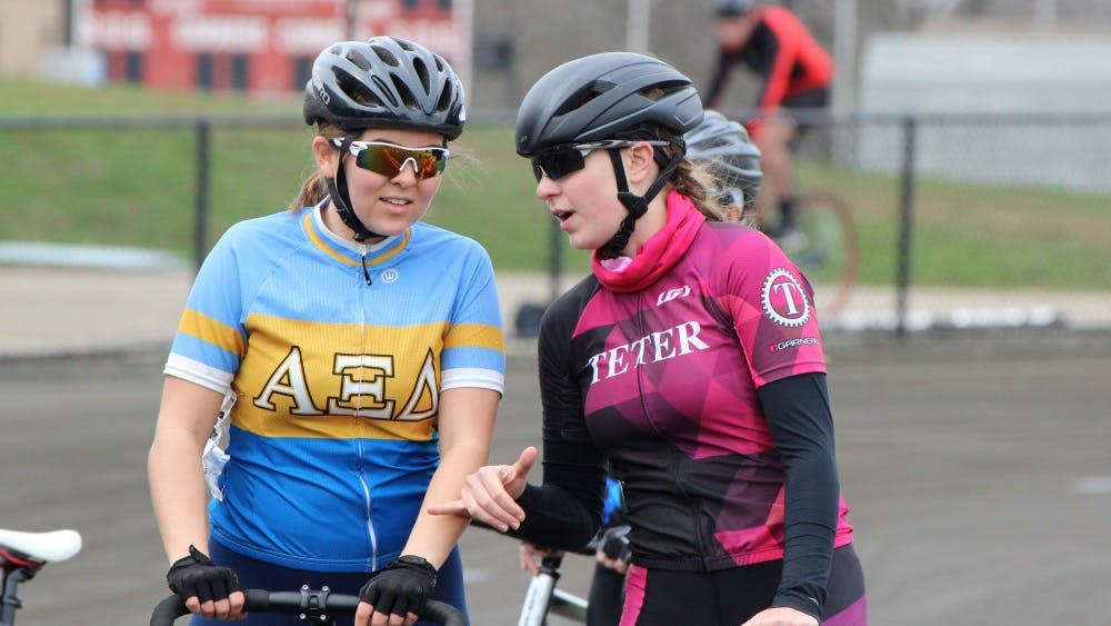 Alpha Xi Delta rider Ellen Potocsnak and Teter rider Lauren Britt talk before Heat 5 begins at Miss N Out on March 31, 2018, at Bill Armstrong Stadium. Teter will start the 2019 women's Little 500 race in second position.