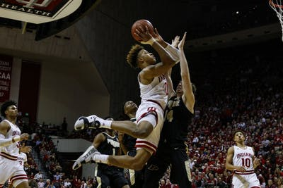 Freshman guard Romeo Langford shoots the ball against Purdue on Feb. 19 at Simon Skjodt Assembly Hall. IU lost, 48-46.