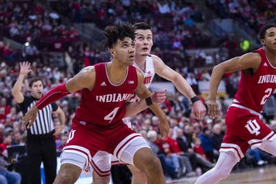 Freshman forward Trayce Jackson-Davis boxes out Ohio State forward Kyle Young during an IU free throw attempt Feb. 1 at Value City Arena. Jackson-Davis led the Hoosiers over the Gophers on Feb. 19 in Minneapolis with 27 of IU's 68 points.