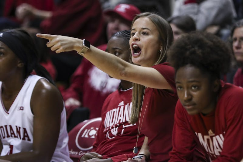Then-women's basketball graduate manager Ashley Williams yells Nov. 7, 2018, during a game against the University of Wisconsin – Milwaukee at Simon Skjodt Assembly Hall. Williams will be returning to IU as a paid assistant after spending last season as an assistant coach at Furman University.