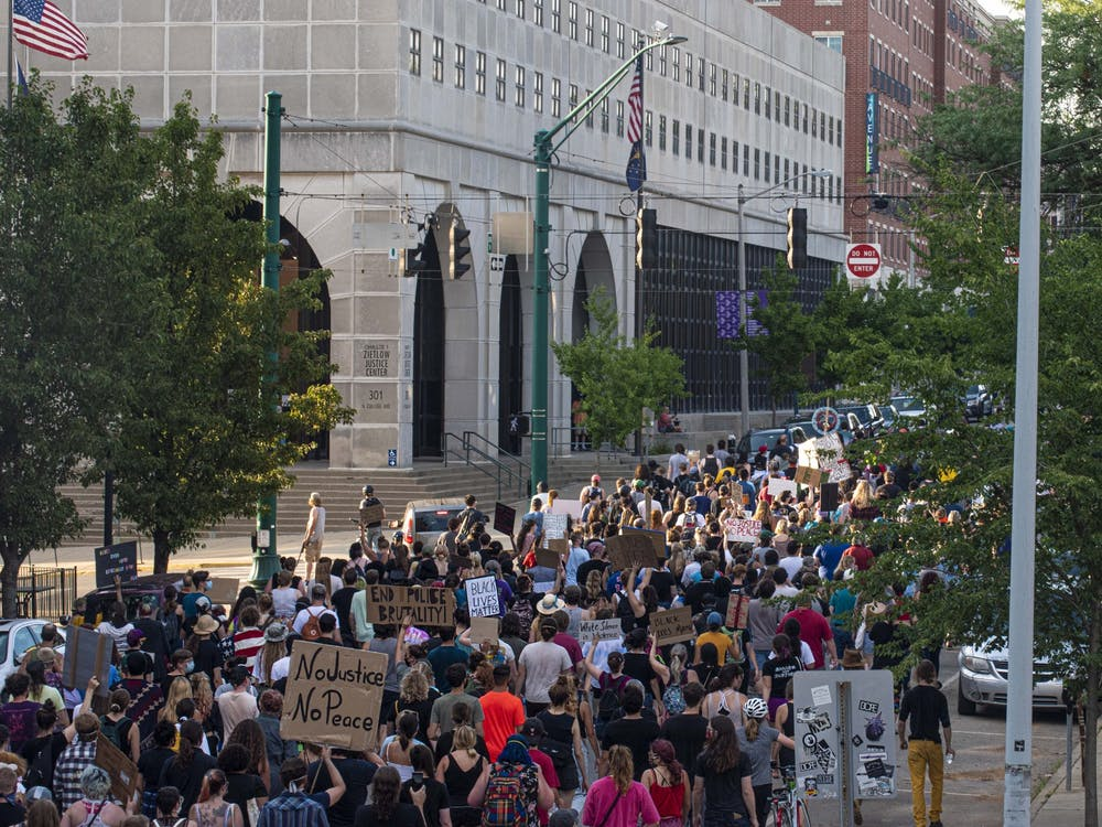 Black Lives Matter protesters march July 7, 2020, on College Avenue.