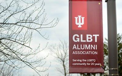 GLBT Alumni Association appreciation banners line the street outside of the Eskenazi Art Museum.