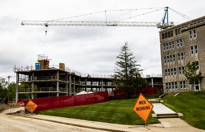 Construction takes place May 13 behind McNutt Quad. Construction projects are considered essential and have been allowed to continue under Gov. Eric Holcomb's executive order.