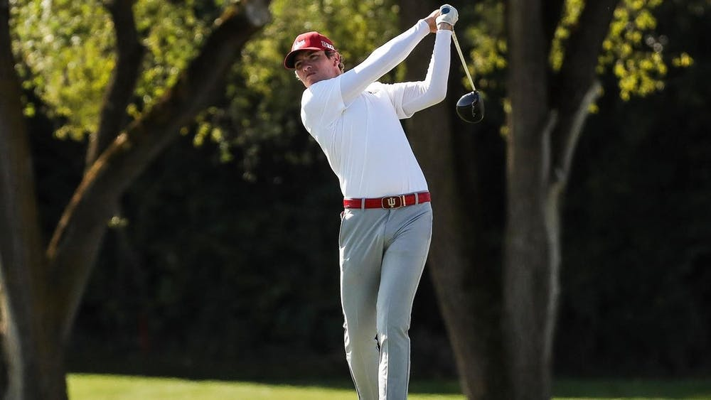 Then-sophomore Mitch Davis swings the club Oct. 15, 2019, at the Crooked Stick Invitational in Carmel, Indiana. IU won the Big Ten Match Play Championship against Iowa on Saturday at Hammock Beach Ocean Course in Palm Coast, Florida.