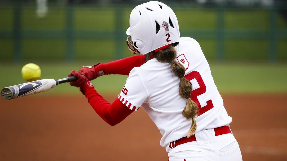 <p>Freshman pitcher Macy Montgomery swings the bat March 28 at Andy Mohr Field. The Hoosiers won 7-5 Sunday against the Purdue Boilermakers.</p>