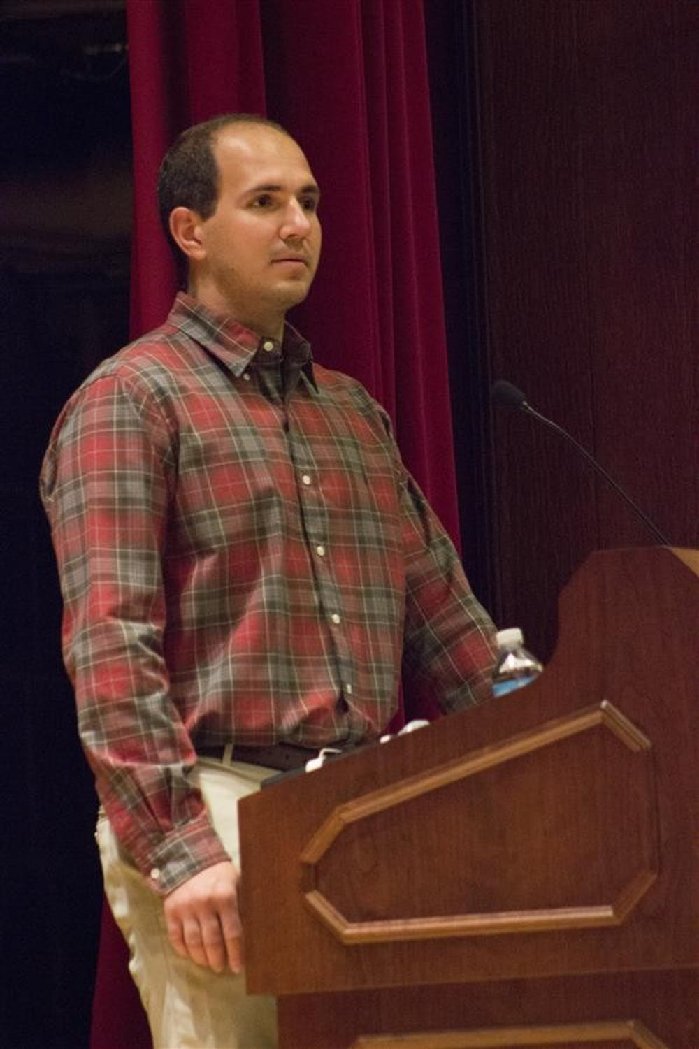 Jeremy Fiege, brother of Rachael Fiege, speaks about the Lifeline Law on Tuesday at Alumni Hall. The Lifeline Law was passed on May 4, 2012.