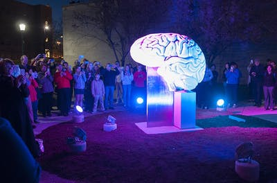 The brain sculpture outside of the Psychology building is illuminated for the first time on Thursday evening. The lights that illuminate the sculpture have a lifespan of 100,000 hours. The funds for the lighting design were donated by IU graduates David and Suzanne Pfenninger.