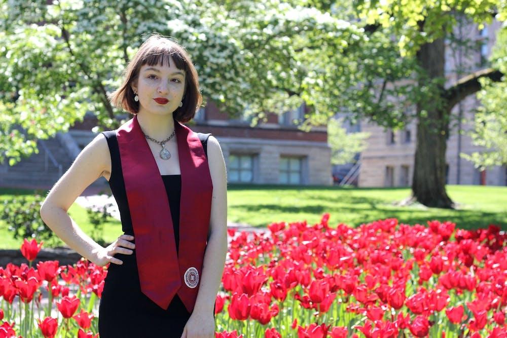 <p>Rachel Cambron poses for a graduation photo on IU&#x27;s campus.</p>