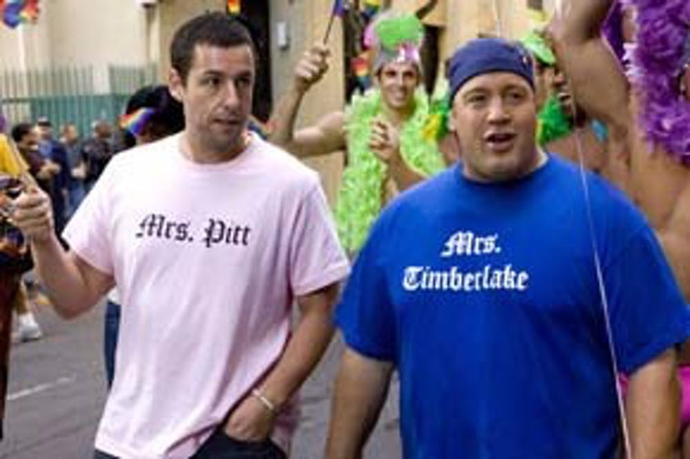 With their T–shirts, Adam Sander and Kevin James put Angelina Jolie and Jessica Biel on notice, respectively.